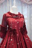 ChessStory~Little daisies and dandelion print Medium sleeves lolita op dress