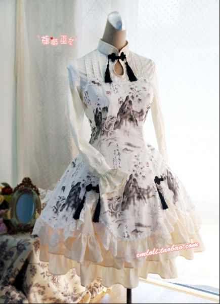 Strawberry Witch~Custom Size Available Chinese lolita stlye Shan Shui Dragon print OP dress