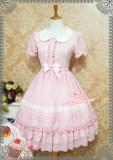 Strawberry Witch~Candy chiffon dress ice cream puffs doll collar op dress