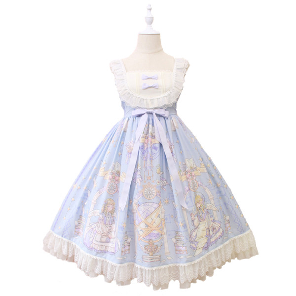 Alice girl~Angel print bow knot lace lolita jsk dress pre-order