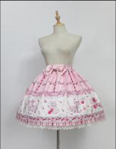 *Neverland*Cherry & deer 2018 sweet lovely lolita printing high waist skirt pre-order