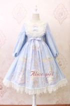 Alice girl~Angel print bow knot lace  long-sleeved op dress pre-order