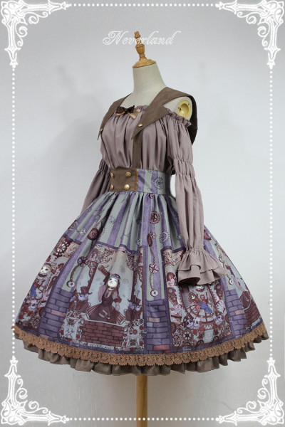*Neverland* Steam punk cat Removable strap skirt with cat ear collar