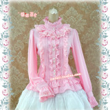 Strawberry Witch~Custom Size Available sweet Lolita blouses with lace high collar
