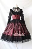 Alice girl~Chandelier print lace Lotus leaf jsk Sling dress versionⅠ pre-order