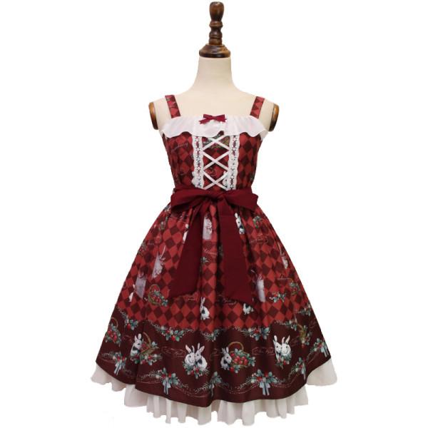Alice girl~Strawberry rabbit print sweet lolita jsk dress