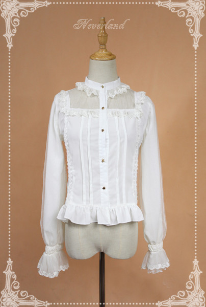 *Neverland*Crystal Palace Elastic chiffon trumpet sleeves Straight-necked lolita blouse pre-order