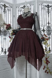 *Neverland*Dark Night Spectre Gothic style chiffon Irregular skirt trimp JSK dress