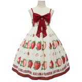 Alice girl~soft sweet big strawberry bow~Lolita Jsk Sling dress pre-order