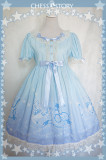 ChessStory~Dreamy Starry Night series print short sleeve lolita op dress