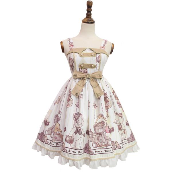 Alice girl~Steam Bear Gear print Double buttoning jsk dress pre-order