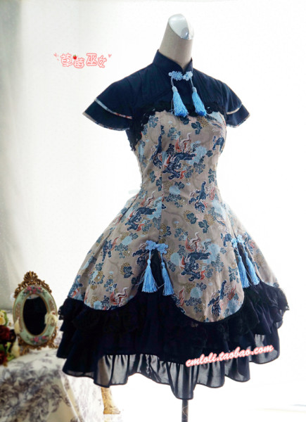 Strawberry Witch~Custom Size Available Chinses lolita Kylin Brocade OP dress