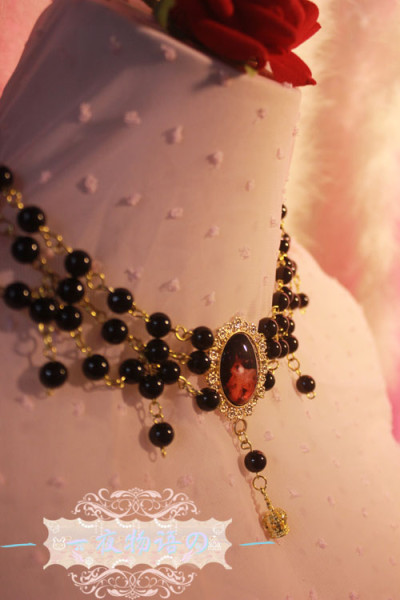 【Night Tales】Gothic style lolita black pearl necklace