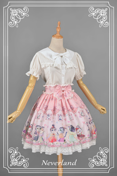 *Neverland*Maneki neko print sailor collar short sleeve lolita blouse