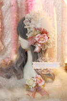 【Night Tales】Lolita headdress white mini hat with lace