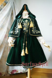SurfaceSpell ~Bourbon Dynasty~ Gold and silver embroidered velvety vest lolita skirt+cape