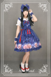 *Neverland*Maneki neko print Japenese style jsk dress with yarn overskirt