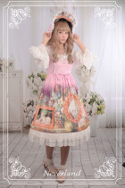 *Neverland*The courtyard cat trumpet sleeve pieced together round neck with bead chain lolita dress