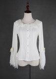 *Neverland*Flower-choosing Girl Eyelash Lace Tight Trumpet Sleeve Blouse