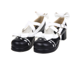 【 Angelic imprint】Autumn Single Shoe Lolita Shoes With Lace ,Lovely Bowknot Princess Shoes With Maid Shoes
