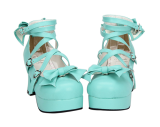 【 Angelic imprint】New Style Popular Thick With Sweet Bowknot Princess Shoes Heart Button And Round Head Lolita  Shoes