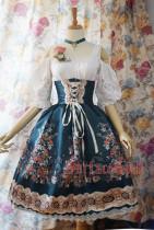 SurfaceSpell ~ AlpenRose~ Gothic Ethnic Lolita High Waist Fishbone Skirt