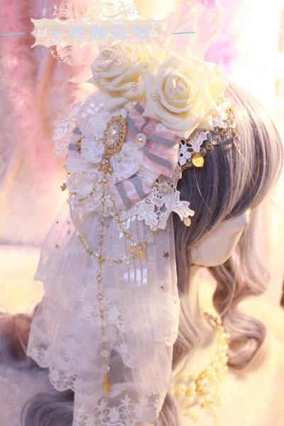 【Night Tales】Elegant lolita headdress flowers hairclip with veil
