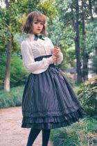 Surface spell~ Daily fishbone stripe high waist skirt