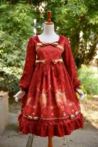 *Neverland*X'mas Deer Long sleeve lolita OP dress with yarn