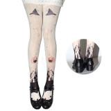 【MuFish】Hallowmas Print Velvet Lolita Tights