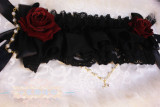 【Night Tales】Gothic lolita black /red roes headband