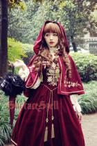 SurfaceSpell ~Bourbon Dynasty~ Gold and silver embroidered velvety vest lolita skirt+cape