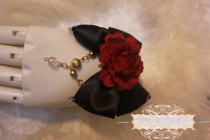 【Night Tales】Gothic style black red rose lolita bracelet