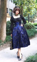 SurfaceSpell ~Lady in Darkness~Dark grain fish born high waist lolita skirt