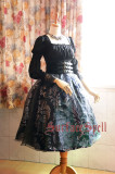 SurfaceSpell ~ Lady in Darkness Vintage Lolita gold stamp Skirt