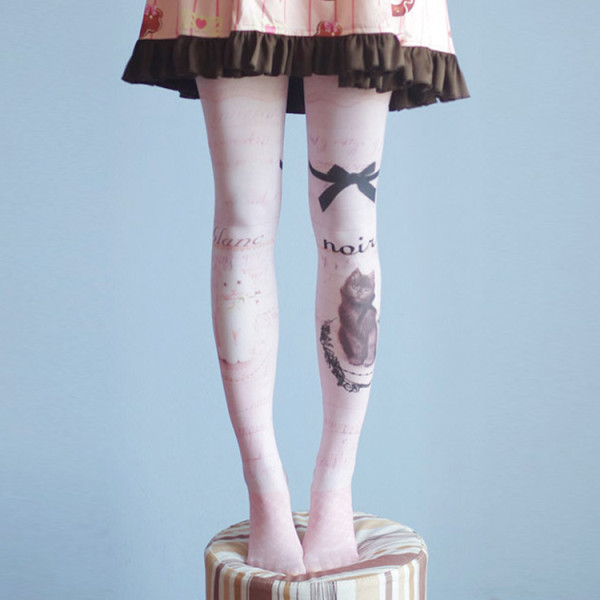 Vintage Bow and Cat Print Sweet Lolita Tights