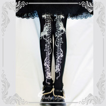 【Ruby rabbit】Rose bone print lolita tights