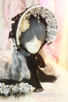 【Night Tales】Lolita headdress gothic black white lace bonnet