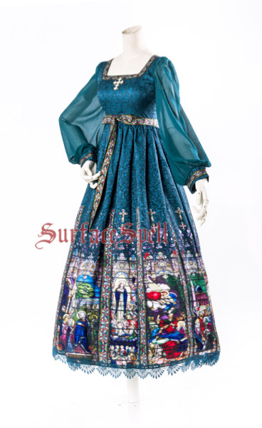 SurfaceSpell ~Rosary print high waist long sleeve op dress