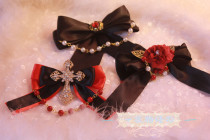 【Night Tales】Gothic headdress lolita brooch with bead chain