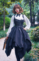 Surface spell~ Gothic Stripe Irregular Hemline Lolita Jumper