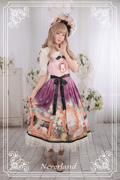 *Neverland* The courtyard cat Vintage oil painting lolita slip dress