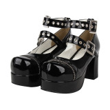 【 Angelic imprint】Lolita Round-head Punk Style Cospaly Shoes