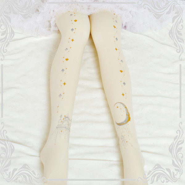 Moon and Star Hot Stamping Printing Castle Lolita Tights