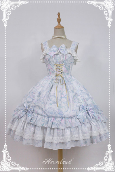 *Neverland*Antique clock chiffon print Sweet lolita jsk dress