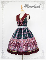 *Neverland*Chocolate Bear print Fake Collar lolita Jumperskirt