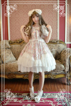 *Neverland*Antique clock Sweet lolita Bubble sleeves spliced chiffon dress