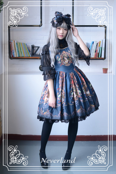 *Neverland*Lost in Rococo Vintage gothic chiffon Splice mid-sleeve dress