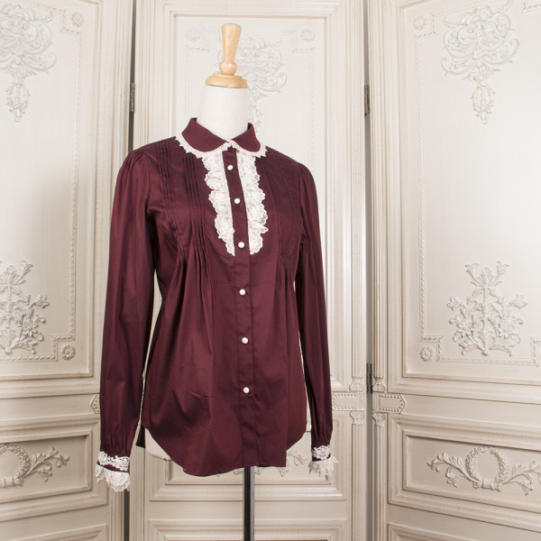 LAURELINE~Wine-red Lapel Lace Loose Long-Sleeved Shirt