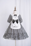 Vcastle*plaid heart short sleeve and doll collar lolita dress